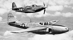First production P-59A with a P-63 behind