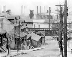 South Bethlehem in 1935, looking north at intersection of State and Mechanic Streets, to houses and Bethlehem Steel