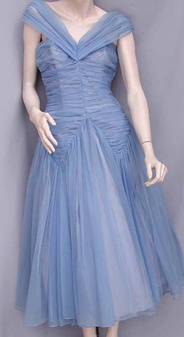 Blue Nylon fabric ball gown by Emma Domb, Science History Institute