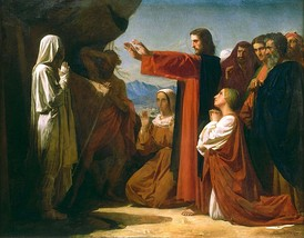 The Resurrection of Lazarus, painting by Leon Bonnat, France, 1857.
