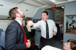 President Ronald Reagan faking a punch to Dana Rohrabacher aboard Air Force One and trip back to California in 1986