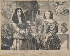 Dutch engraving of Charles II and Catherine of Braganza