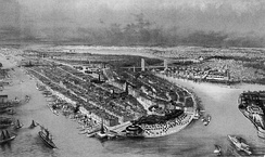Aerial view illustration of Manhattan, showing Castle Garden at its tip, ca. 1880