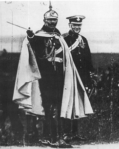 Churchill and German Kaiser Wilhelm II during a military manoeuvre near Breslau, Silesia, in 1906.