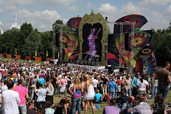 The annual Dance Valley dance music festival in the Netherlands. Such music festivals typically include a large temporary stage, are held outdoors, and include other attractions such as food, performance art and other social activities.