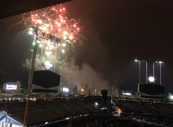 "Dodger Stadium during a postgame ""fireworks night"" promotion. Notice the new HD screens in place of the old rectangular video board and scoreboard."