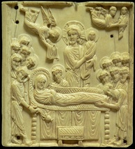 The Dormition: ivory plaque, late 10th–early 11th century (Musée de Cluny)
