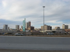 Downtown Lubbock seen from I-27