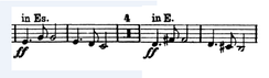 Excerpt of the trumpet part of Symphony No. 9 of Antonín Dvořák, where sight transposition is required.