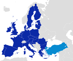 After becoming one of the first members of the Council of Europe in 1949, Turkey became an associate member of the EEC in 1963, joined the EU Customs Union in 1995 and started full membership negotiations with the European Union in 2005.[30]