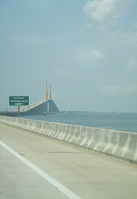 The Sunshine Skyway (I-275) connects Pinellas to Manatee Counties. The middle span is in Hillsborough County.