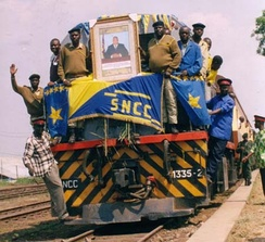 Train from Lubumbashi arriving in Kindu on a newly refurbished line.