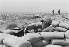 U.S. Marine sits in a foxhole outside Beirut during the 1958 Lebanon crisis