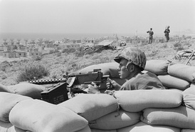 U.S. Marine in a fighting hole outside Beirut during the 1958 Lebanon crisis
