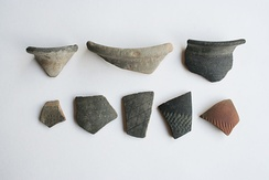 Fragments of early marked pottery uncovered from Canvey Point.