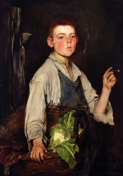Painting of an apprentice cobbler, 1877. Despite his youthful appearance, he has taken on adult roles – working for pay and smoking tobacco.