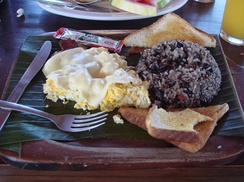 Costa Rican breakfast with gallo pinto