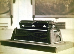 United States President James A. Garfield's casket lying in state at the Capitol Rotunda