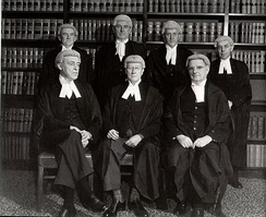 The bench in 1952, shortly before Chief Justice Latham's retirement. Back, left to right, Fullagar, Webb, Williams & Kitto. Front, left to right, Dixon, Latham & McTiernan.