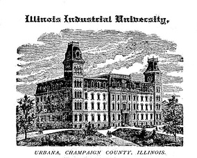 The original University Hall, which stood until 1938, when it was replaced by Gregory Hall and the Illini Union. Pieces were used in the erection of Hallene Gateway dedicated in 1998.[17]