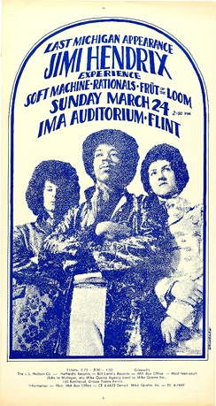 Poster for a concert at the IMA Auditorium, Flint, Michigan, 1968