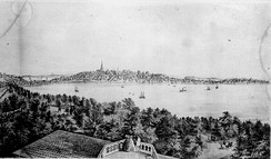 View of Madison from the Water Cure, South Side of Lake Monona, 1855