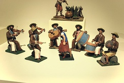 Figures depicting an old-style Mariachi band in clay by José Guadalupe Panduro of Tonalá, Jalisco on display at the Museo de Arte Popular in Mexico City.