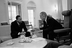 Lyndon B. Johnson, 36th President of the United States (1963–1969), meeting with Martin Luther King Jr. at the Oval Office in 1963