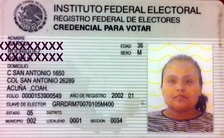 Voter ID card from Mexico.