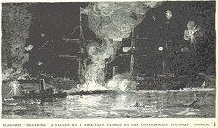 Mosher pushes the fire raft against Hartford