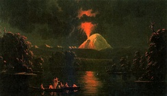 Painting of a conical volcano erupting at night from the side.
