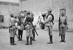 Soldiers of No 2 Field Company, Bombay Sappers and Miners on duty in China in 1900. The mule carries the tools required for field engineering tasks.
