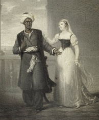 Othello, the Moor and Desdemona, his Venetian wife, from William Shakespeare's Othello (Fradelle, c.1827, detail)