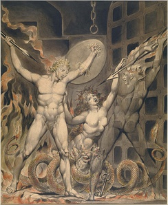 Satan, Sin, and Death: Satan Comes to the Gates of Hell, William Blake (1808)