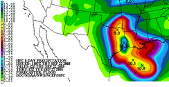 Example of a five-day rainfall forecast from the Hydrometeorological Prediction Center