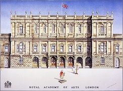 A modern illustration of Burlington House in London, home of the Royal Academy of Arts