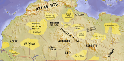 The major topographic features of the Saharan region