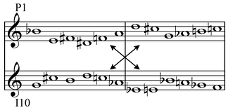 "In Schoenberg's Variations for Orchestra, Op. 31 tone row form P1's second half has the same notes, in a different order, as the first half of I10: ""Thus it is possible to employ P1 and I10 simultaneously and in parallel motion without causing note doubling"" (Leeuw 2005, 154–55). Play (help·info)"