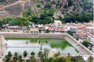 Temple pond constructed by King Chikka Devaraja Wodeyar at Shravanabelagola, an important Jain temple town