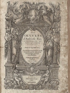 The title page of Ambroise Paré's Oeuvres.
