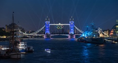 Tower Bridge illuminated with the Olympic Rings during the week leading up to the Opening Ceremony