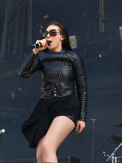 Elize Ryd wearing a leather jacket