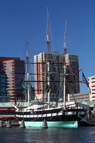 USS Constellation docked in Baltimore Harbor. Constellation captured three slave ships during her operations in Africa.