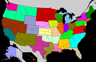 Provinces and dioceses of the Catholic Church in the US. Each color represents one of the 32 Latin Church provinces.