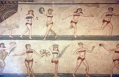 "The ""bikini girls"" mosaic, showing women playing sports, from the Villa Romana del Casale, Roman province of Sicilia (Sicily), 4th century AD"