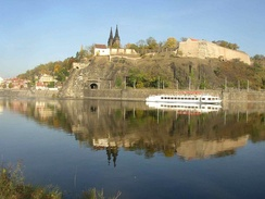 Vyšehrad over the Vltava River, evoked musically in the first poem of Smetana's Má vlast.