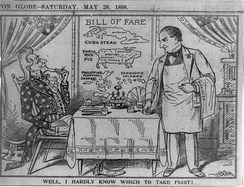 "A cartoon of Uncle Sam seated in restaurant looking at the bill of fare containing ""Cuba steak"", ""Porto Rico pig"", the ""Philippine Islands"" and the ""Sandwich Islands"" (Hawaii)"