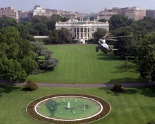 Marine One prepares for landing on the South Lawn where State Arrival Ceremonies for visiting heads of state take place.