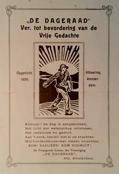 "This poster from c. 1920 calls De Dageraad an ""Ass[ociation] to promote the Free Thought""."