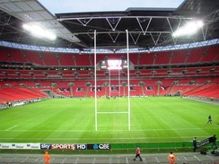 Wembley in rugby union formation, with posts up before Saracens played Worcester Warriors in 2010.
